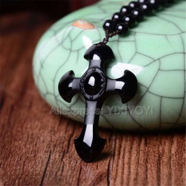 Drop Shipping Natural Black Obsidian Carved Cross Lucky pendant free beads necklace for woman man Hand Drop Shipping Natural Black Obsidian Carved Cross Lucky pendant free beads necklace for woman man Hand carved Pendants Jewelry