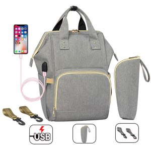 Fashion Mummy Maternity Nappy Bag Waterproof Diaper Bag With USB Stroller Travel Backpack Multi pocket Nursing Innrech Market.com