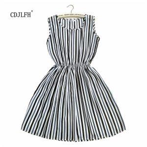 Fashion Women Summer Autum Striped Femme Dress 2018 Dresses Casual Plus Size Woman Clothes Beach White Innrech Market.com
