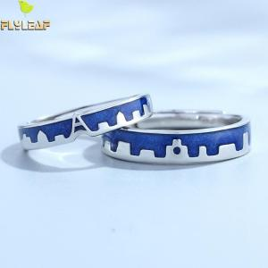 Flyleaf Blue Dripping Glazed Castle Open Lovers Rings For Women Men Romantic Valentine s Day Gift Innrech Market.com