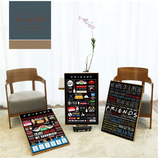 Friends TV Show Classic Quote Posters and Prints Wall art Decorative Picture Canvas Painting For Living Friends TV Show Classic Quote Posters and Prints Wall art Decorative Picture Canvas Painting For Living Room Home Decor Unframed