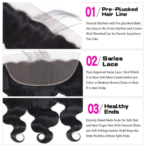 Funky Girl 3 4 bundles with frontal Peruvian Body Wave Human Hair Lace Frontal Closure With 5 Funky Girl 3/4 bundles with frontal Peruvian Body Wave Human Hair Lace Frontal Closure With Bundles Non Remy Frontal With Bundle
