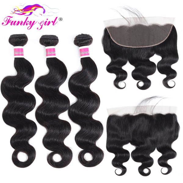 Funky Girl 3 4 bundles with frontal Peruvian Body Wave Human Hair Lace Frontal Closure With Funky Girl 3/4 bundles with frontal Peruvian Body Wave Human Hair Lace Frontal Closure With Bundles Non Remy Frontal With Bundle