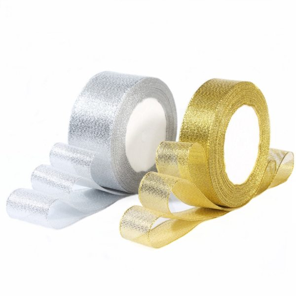 Gold Silver Silk Satin Organza Ribbon 0 6 5CM Glitter Embroidered Onions Ribbons for Wedding Cake Gold/Silver Silk Satin Organza Ribbon 0.6-5CM Glitter Embroidered Onions Ribbons for Wedding Cake Gift Decoration Craft Supplies