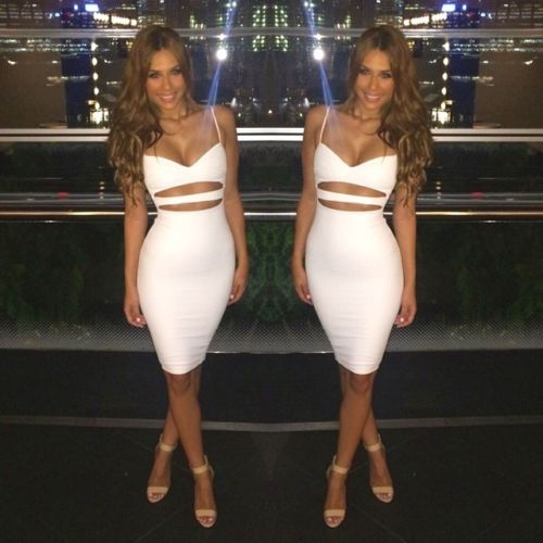 Hot Sexy Women Summer Slim Bodycon Hollow Out Skinny Sleeveless Evening Party Club Solid Strappy V 1 Hot Sexy Women Summer Slim Bodycon Hollow Out Skinny Sleeveless Evening Party Club Solid Strappy V-Neck Short Mini Dress