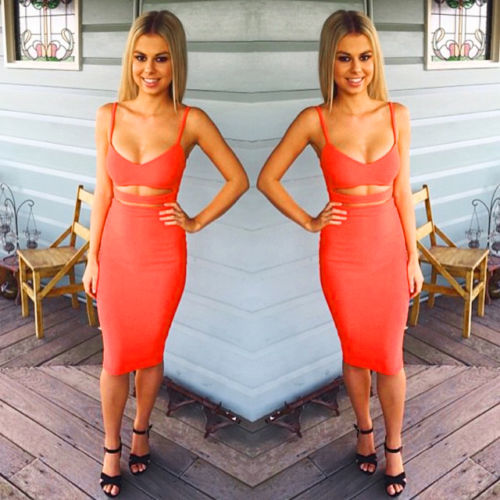 Hot Sexy Women Summer Slim Bodycon Hollow Out Skinny Sleeveless Evening Party Club Solid Strappy V 2 Hot Sexy Women Summer Slim Bodycon Hollow Out Skinny Sleeveless Evening Party Club Solid Strappy V-Neck Short Mini Dress