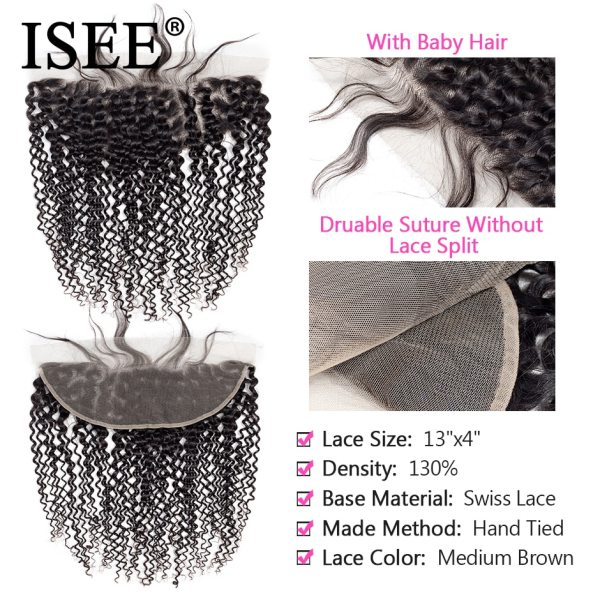 ISEE HAIR Mongolian Kinky Curly Bundles With Frontal 13 4 Lace Frontal With Bundles Remy Human 3 ISEE HAIR Mongolian Kinky Curly Bundles With Frontal 13*4 Lace Frontal With Bundles Remy Human Hair Bundles With Frontal