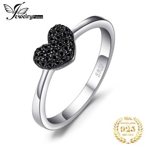 JewelryPalace Heart Natural Black Spinel Ring 925 Sterling Silver Rings for Women Engagement Ring Silver 925 Innrech Market.com