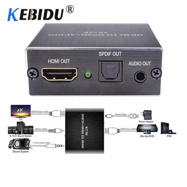 KEBIDU 4K x 2K HDMI audio extractor Optical TOSLINK SPDIF 3 5mm Stereo Audio Extractor Converter KEBIDU 4K x 2K HDMI audio extractor + Optical TOSLINK SPDIF + 3.5mm Stereo Audio Extractor Converter HDMI Audio Splitter