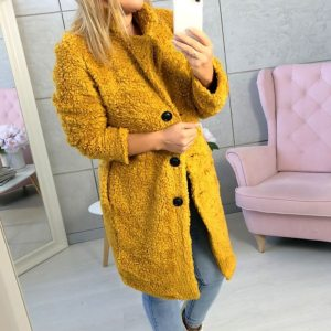 LASPERAL Women s Plush Coat Autumn Winter Women Button Jacket Casual Warm Turndown Collar Fur Outwear Innrech Market.com