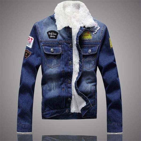 LBL Fleece Inner Denim Jacket Men Winter Fashion Slim Trendy Warm Thick Mens Jean Jackets Outwear 1 LBL Fleece Inner Denim Jacket Men Winter Fashion Slim Trendy Warm Thick Mens Jean Jackets Outwear Motorcycle Coats Cowboy 2019