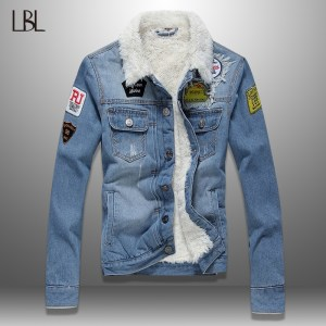LBL Fleece Inner Denim Jacket Men Winter Fashion Slim Trendy Warm Thick Mens Jean Jackets Outwear Innrech Market.com