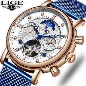 LIGE Gift Mens Watches Brand Luxury Fashion Tourbillon Automatic Mechanical Watch Men Stainless Steel watch Relogio Innrech Market.com