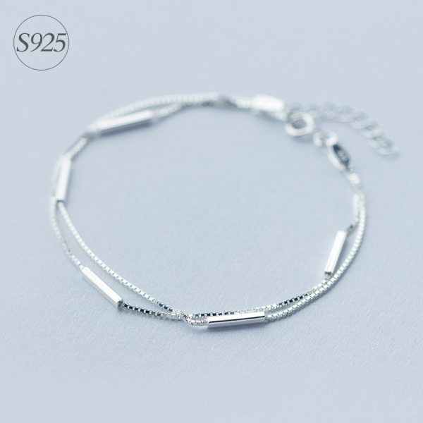 Lady s Minimalist REAL 925 Sterling Silver Multi Rows Double layers Geometric Sticks Bar Chain Bracelet Lady's Minimalist REAL. 925 Sterling Silver Multi-Rows Double layers Geometric Sticks Bar Chain Bracelet Slim Jewelry GTLS316
