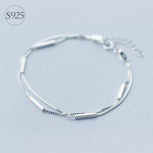 Lady s Minimalist REAL 925 Sterling Silver Multi Rows Double layers Geometric Sticks Bar Chain Bracelet Innrech Market.com