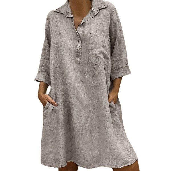 Large Plus Size Best Sale 2019 Women s Solid Boho Turn down Collar Dress 3 4 1 Large Plus Size !!Best Sale 2019 Women's Solid Boho Turn-down Collar Dress 3/4 Sleeve Casual Pocket Button Dress Vestido @6