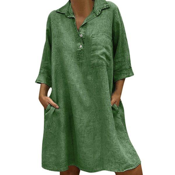 Large Plus Size Best Sale 2019 Women s Solid Boho Turn down Collar Dress 3 4 3 Large Plus Size !!Best Sale 2019 Women's Solid Boho Turn-down Collar Dress 3/4 Sleeve Casual Pocket Button Dress Vestido @6