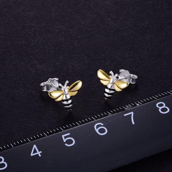 Lotus Fun Real 925 Sterling Silver Earrings Designer Fine Jewelry Lovely 18K Gold Honey Bee Stud 4 Lotus Fun Real 925 Sterling Silver Earrings Designer Fine Jewelry Lovely 18K Gold Honey Bee Stud Earrings for Women Gift Brincos