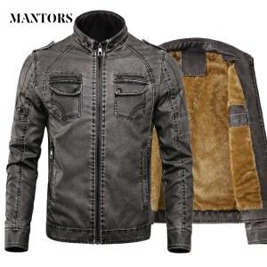 Men PU Leather Jacket 2019 New Autumn Winter Men s Thick Casual Warm Stand Collar Zipper Innrech Market.com