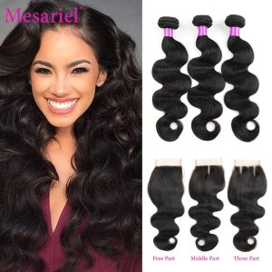 Mesariel Body Wave Bundles With Closure Brazilian Hair Weave 3 4 Bundles With Closure Non Remy Innrech Market.com