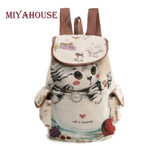 Miyahouse Casual Canvas School Backpack Women Lovely Cat Printed Drawstring Backpack Teenager Large Capacity Ladies School Innrech Market.com