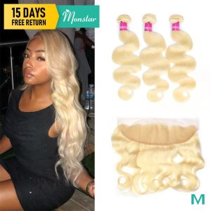 Monstar Remy Blonde Color Hair Body Wave 2 3 4 Bundles with 13x4 Ear to Ear Innrech Market.com