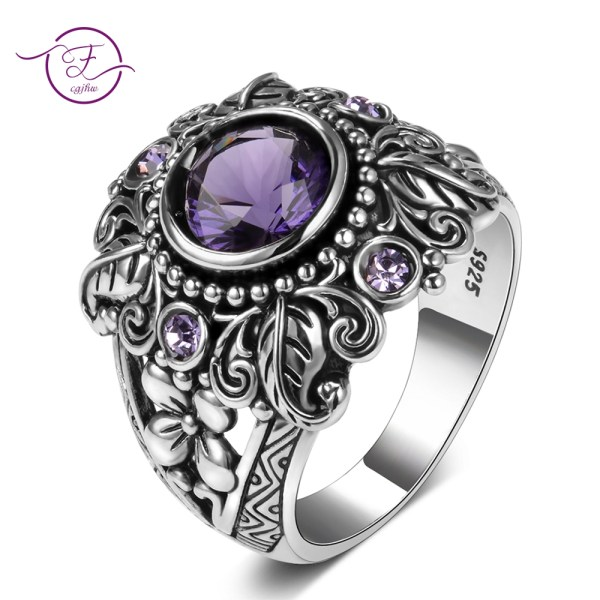 Natural Purple Amethyst Rings Women s Solid 925 Sterling Silver Fine Jewelry Anniversary Party Gift For Natural Purple Amethyst Rings Women's Solid 925 Sterling Silver Fine Jewelry Anniversary Party Gift For Grandmother Wholesale