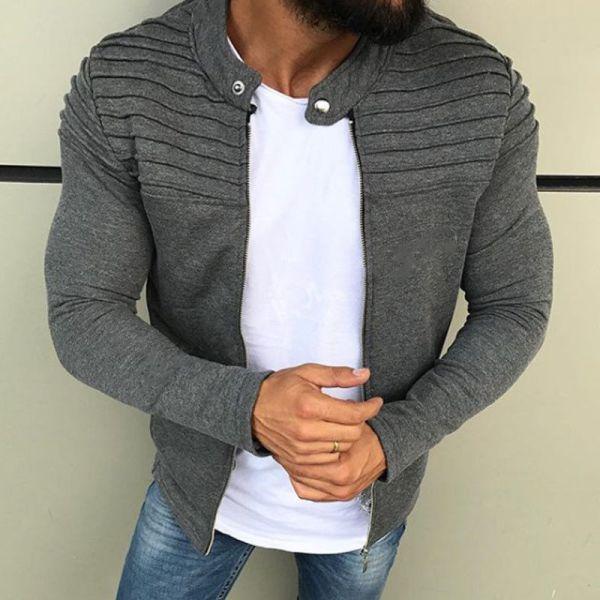 New Men s Winter Zip up Slim Collar Shoulder Ruched Jacket Tops Long Sleeve Casual Coat 1 New Men's Winter Zip up Slim Collar Shoulder Ruched Jacket Tops Long Sleeve Casual Coat Outerwear Fleece jacket