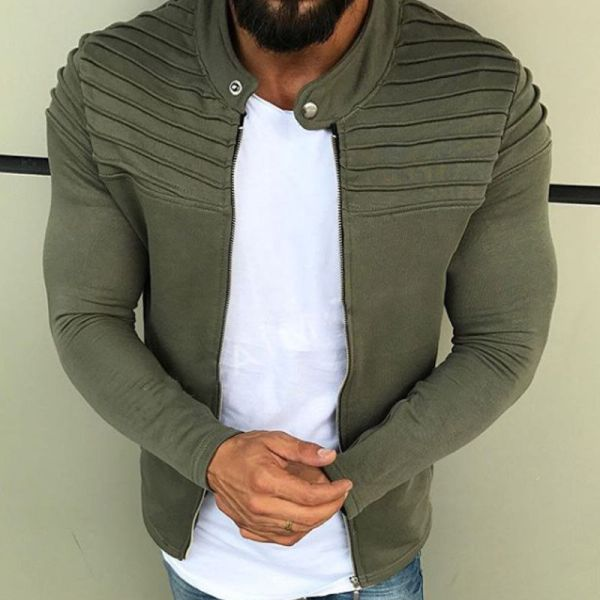 New Men s Winter Zip up Slim Collar Shoulder Ruched Jacket Tops Long Sleeve Casual Coat 2 New Men's Winter Zip up Slim Collar Shoulder Ruched Jacket Tops Long Sleeve Casual Coat Outerwear Fleece jacket