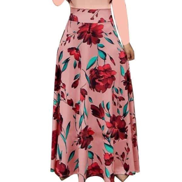 New Summer Flower Dot Print Color Matching Long Sleeve High Waist Women Maxi Dress 2 New Summer Flower Dot Print Color Matching Long Sleeve High Waist Women Maxi Dress