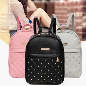 OCARDIAN Woman packet Fashion Causal Bags Bead Female Shoulder Bag Backpacks Women Rivet Backpack dropship 19M12 Innrech Market.com