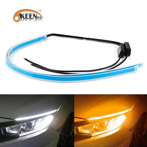 OKEEN 2Pcs Slim Flexible DRL LED Knight Rider Strip Light For Headlight Sequential Flowing Amber Turn OKEEN 2Pcs Slim Flexible DRL LED Knight Rider Strip Light For Headlight Sequential Flowing Amber Turn Signal Lights