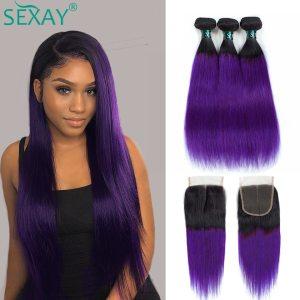 Ombre Human Hair Bundles With Closure 1b Purple 27 99j Pre Colored Hair Weave Ombre Brazilian Innrech Market.com