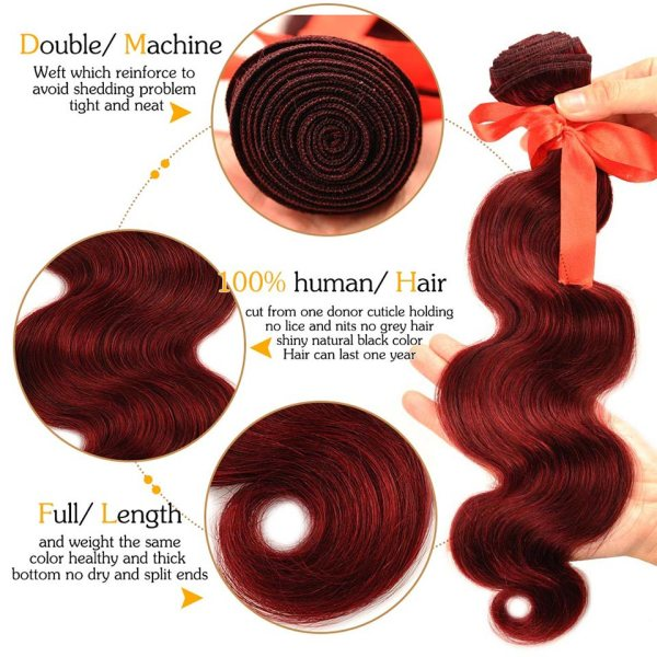 Pinshair 99J Hair Red Burgundy Bundles With Closure Brazilian Body Wave Human Hair Weave Bundles With 2 Pinshair 99J Hair Red Burgundy Bundles With Closure Brazilian Body Wave Human Hair Weave Bundles With Closure Non Remy No Tangle