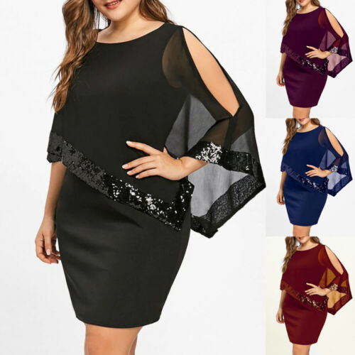 Plus Size Women Bodycon Shawl Tunic Dress Ladies Party Party Summer Short Mini Dresses Sequins Formal Plus Size Women Bodycon Shawl Tunic Dress Ladies Party Party Summer Short Mini Dresses Sequins Formal Elegant Dress 2019 New