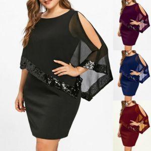 Plus Size Women Bodycon Shawl Tunic Dress Ladies Party Party Summer Short Mini Dresses Sequins Formal Innrech Market.com