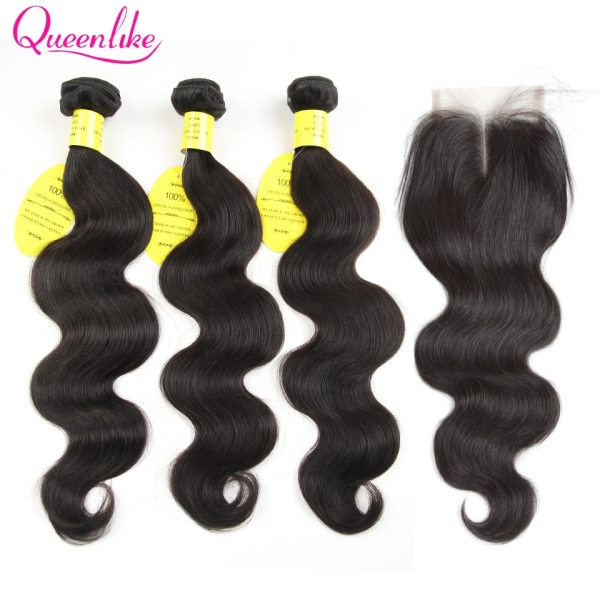 QueenLike Hair Products Brazilian Body Wave With Closure Non Remy Hair Weft Weaving 3 4 Bundles QueenLike Hair Products Brazilian Body Wave With Closure Non Remy Hair Weft Weaving 3 4 Bundles Human Hair Bundles With Closure