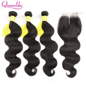 QueenLike Hair Products Brazilian Body Wave With Closure Non Remy Hair Weft Weaving 3 4 Bundles Innrech Market.com