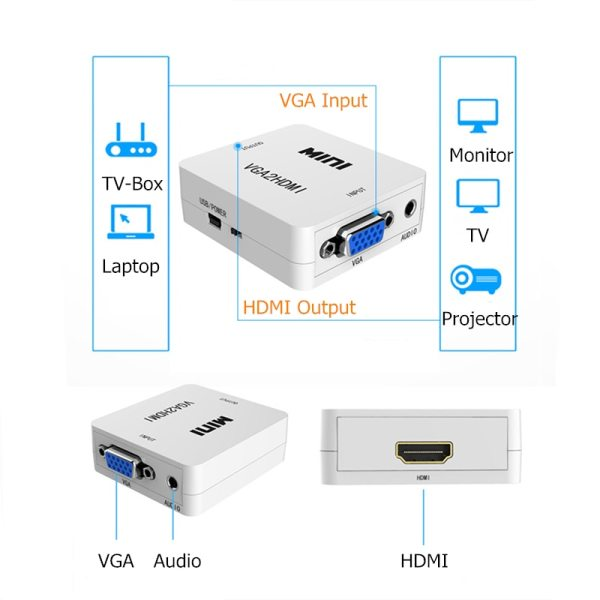 Rankman VGA Male to HDMI Female Converter with Audio Adapter Cables 1080P for HDTV Monitor Projector 5 Rankman VGA Male to HDMI Female Converter with Audio Adapter Cables 1080P for HDTV Monitor Projector PC PS3
