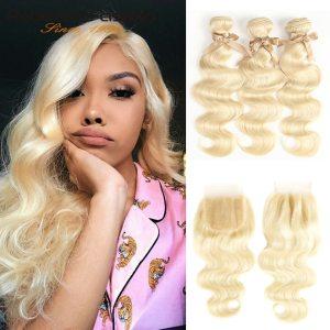 Rebecca 613 Blonde Bundles With Closure Brazilian Body Wave Remy Human Hair Weave Bundles 613 Honey Innrech Market.com