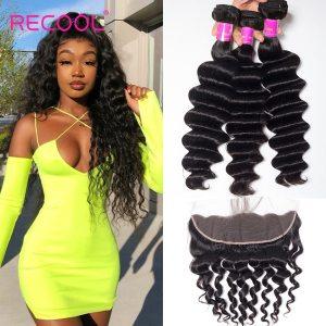 Recool Loose Deep Wave Bundles With Frontal Closure Hd Transparent Lace Remy Brazilian Human Hair Weave Innrech Market.com