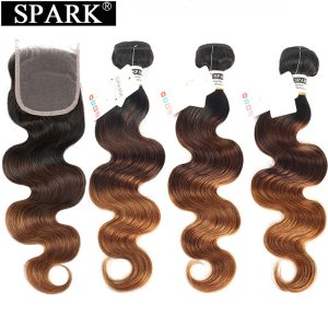 Spark Ombre Brazilian Body Wave Human Hair Bundles With Closure Remy Hair Human Hair Weave 3 Innrech Market.com
