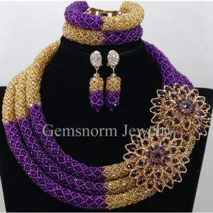 Splendid Purple Gold Nigerian Bridal Beads Fashion Jewelry Set Costume African Indian Jewelry Set for Women Innrech Market.com