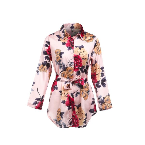 Summer Sexy Women Silk Satin Shirt Dress Ladies Print Floral Long Sleeve Loose Short Mini Dresses 4 Summer Sexy Women Silk Satin Shirt Dress Ladies Print Floral Long Sleeve Loose Short Mini Dresses Beach Party Dress