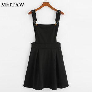 Summer Women Mini Party Dress 2019 Casual Sleeveless Zip Up Back Pinafore Dress Autumn Black Pleated Innrech Market.com