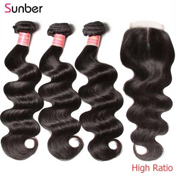 Sunber Hair Peruvian Body Wave Hair Bundles With Closure High Ratio Remy Hair 3 4 Bundles Sunber Hair Peruvian Body Wave Hair Bundles With Closure High Ratio Remy Hair 3/4 Bundles With Closure Double Machine Hair Weft
