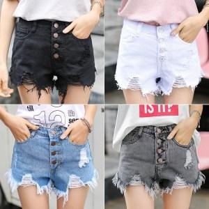 Tall waist white denim shorts female hot loose wide legged pants students show a word shorts Innrech Market.com