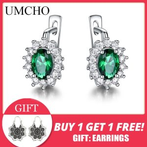 UMCHO 925 Sterling Silver Earrings Gemstone Created Emerald Clip Earrings For Female Birthday Anniversary Gifts Fine Innrech Market.com
