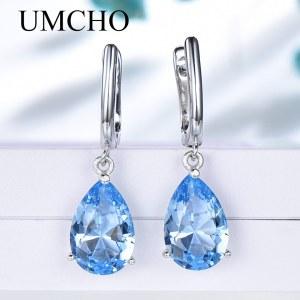 UMCHO Genuine 925 Sterling Silver Clip Earrings for Women Nano Blue Topaz Gemstone Engagement Wedding Anniversary Innrech Market.com
