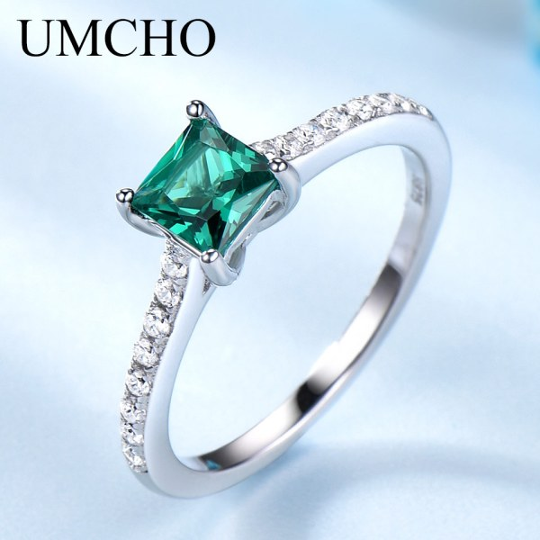 UMCHO Green Emerald Gemstone Rings for Women Genuine 925 Sterling Silver Fashion May Birthstone Ring Romantic UMCHO Green Emerald Gemstone Rings for Women Genuine 925 Sterling Silver Fashion May Birthstone Ring Romantic Gift Fine Jewelry
